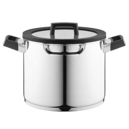 Kookpan 24cm met deksel voor kookplaten met afzuiging
